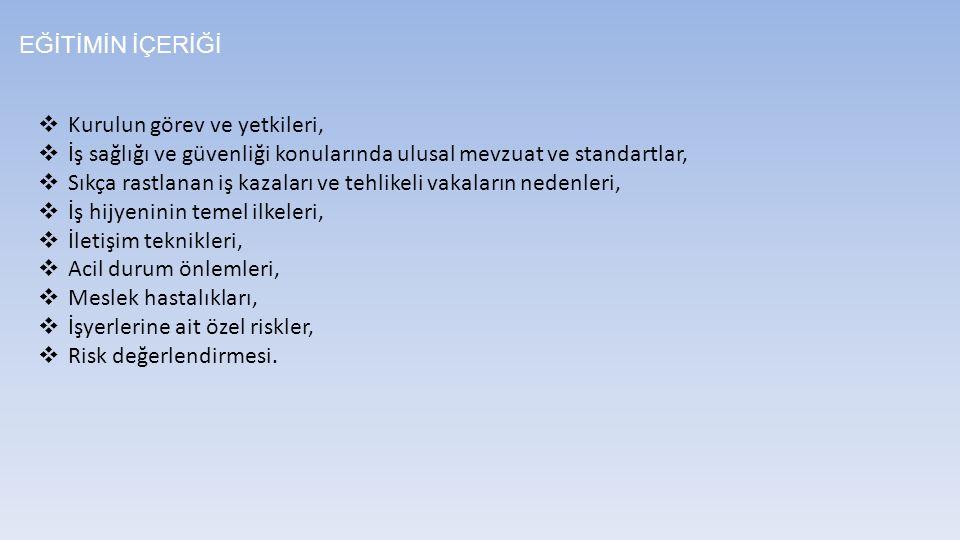 EĞİTİMİN İÇERİĞİ Kurulun görev ve yetkileri, İş sağlığı ve güvenliği konularında ulusal mevzuat ve standartlar,
