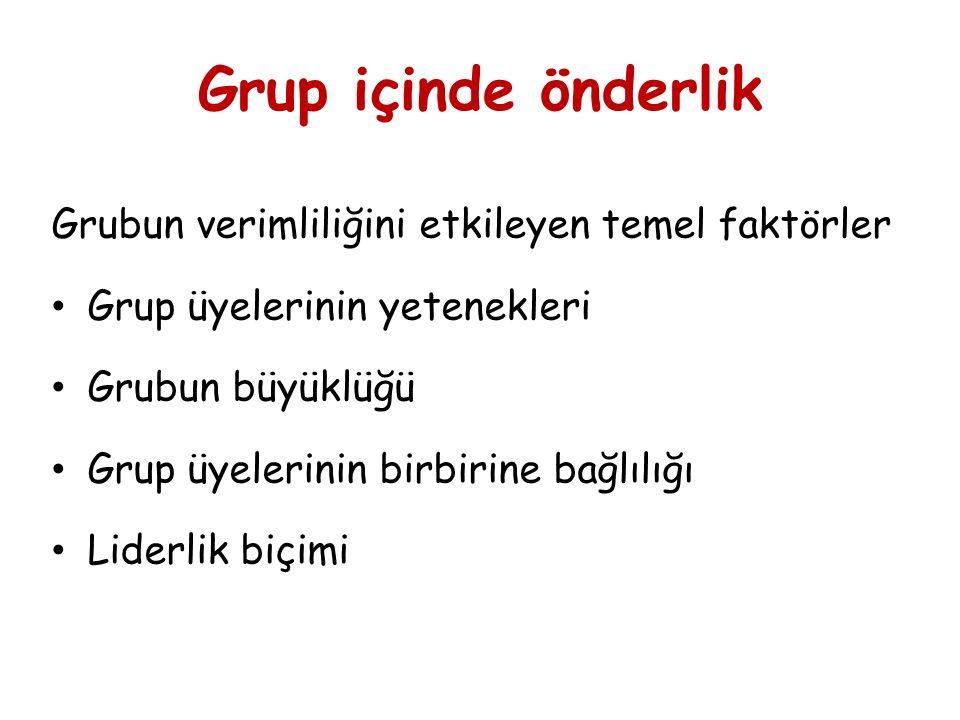 Grup içinde önderlik Grubun verimliliğini etkileyen temel faktörler