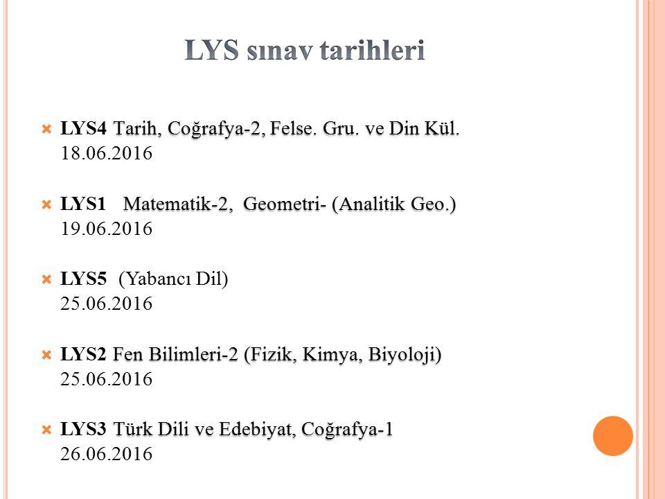 LYS sınav tarihleri LYS4 Tarih, Coğrafya-2, Felse. Gru. ve Din Kül.