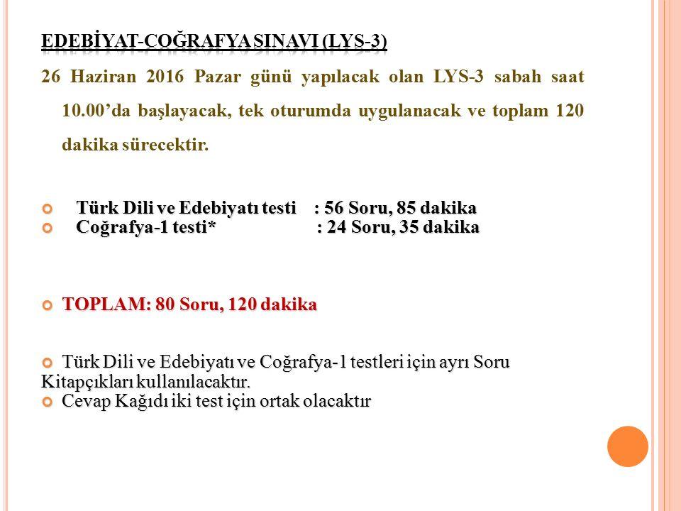 EDEBİYAT-COĞRAFYA SINAVI (LYS-3)