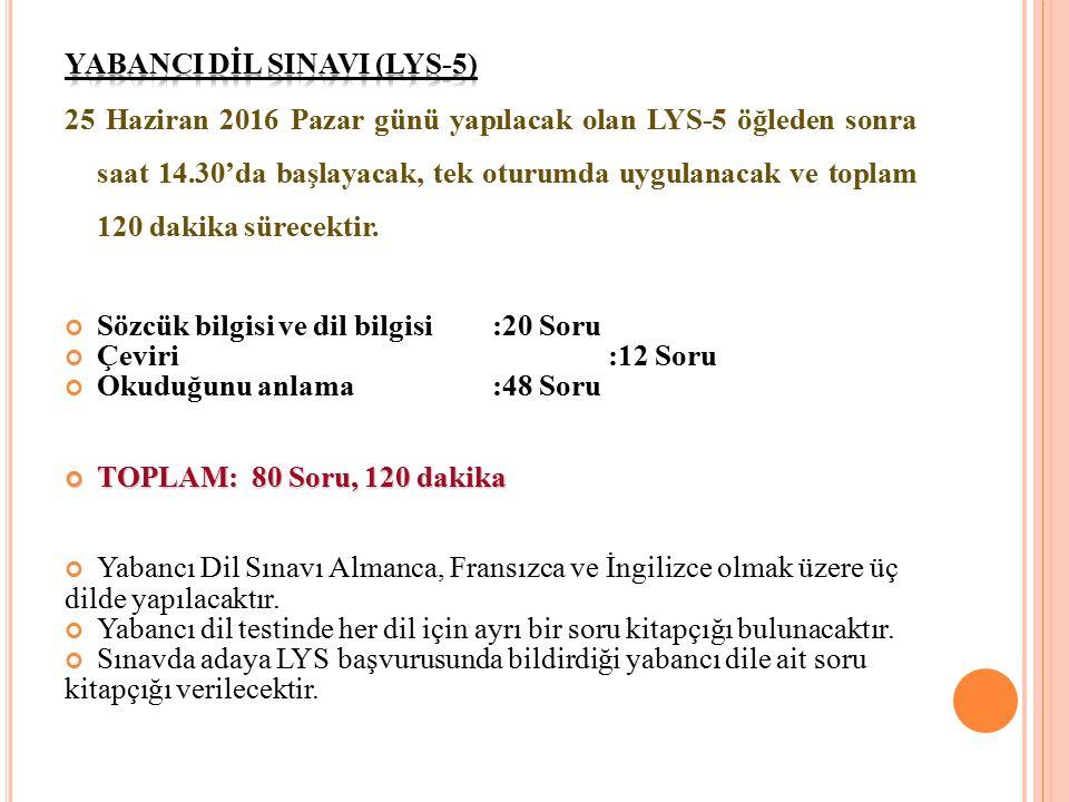 YABANCI DİL SINAVI (LYS-5)