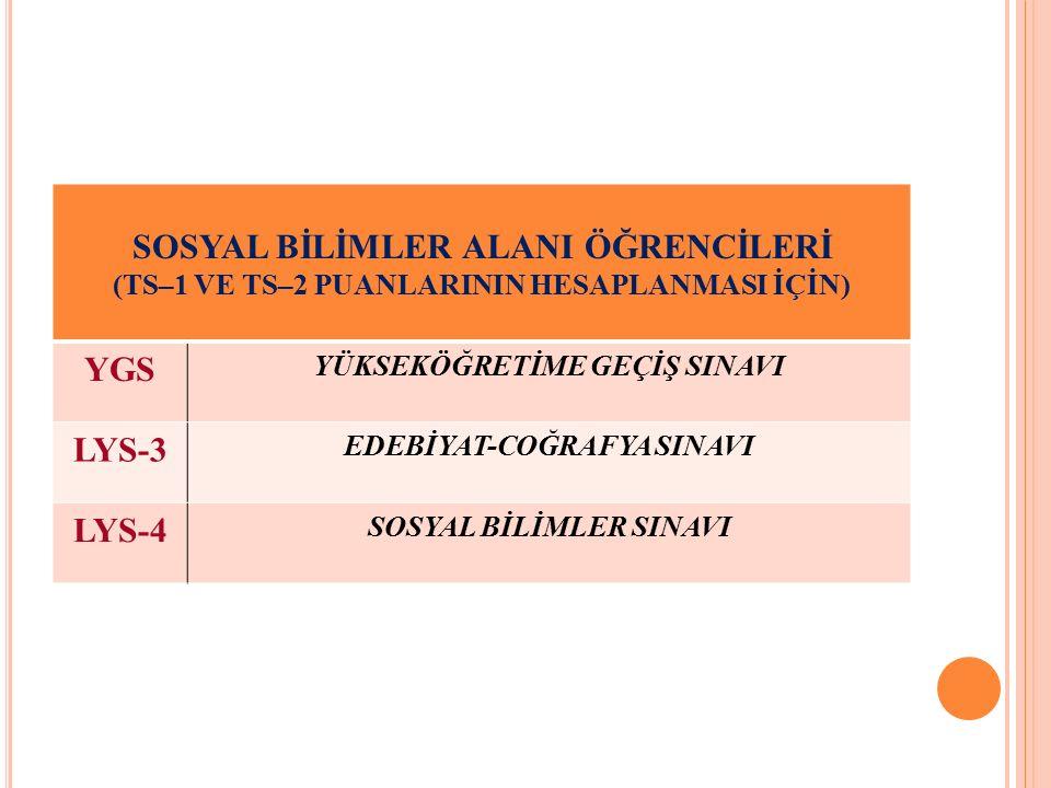 SOSYAL BİLİMLER ALANI ÖĞRENCİLERİ YGS LYS-3 LYS-4