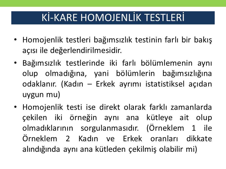 Kİ-KARE HOMOJENLİK TESTLERİ
