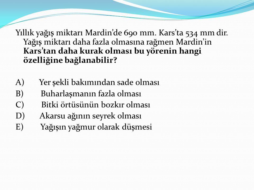 Yıllık yağış miktarı Mardin'de 690 mm. Kars'ta 534 mm dir