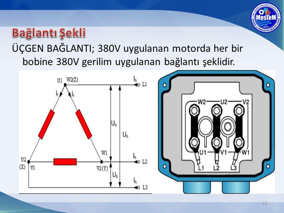 Bağlantı Şekli ÜÇGEN BAĞLANTI; 380V uygulanan motorda her bir bobine 380V gerilim uygulanan bağlantı şeklidir.