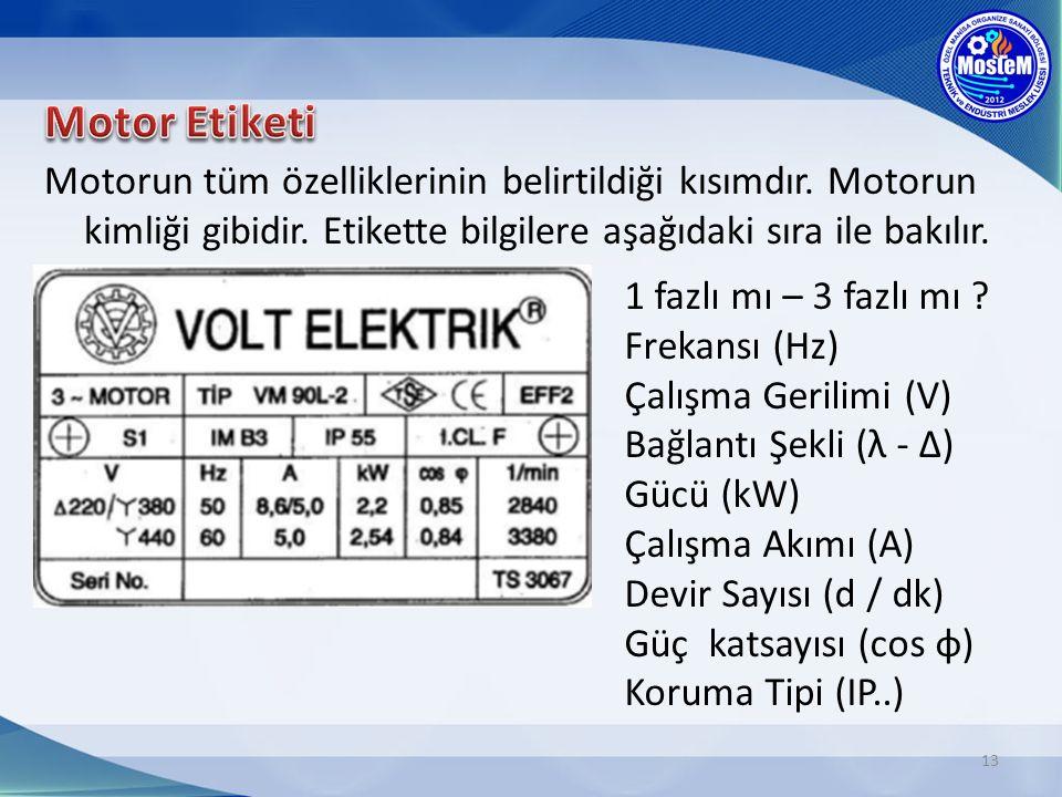 Motor Etiketi Motorun tüm özelliklerinin belirtildiği kısımdır. Motorun kimliği gibidir. Etikette bilgilere aşağıdaki sıra ile bakılır.