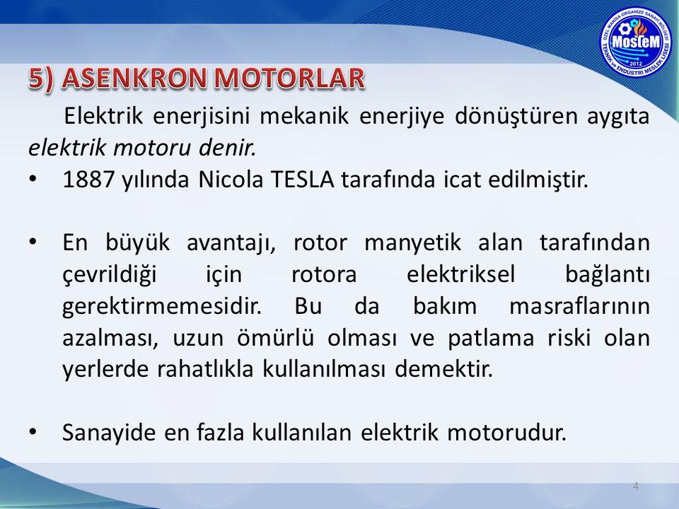 5) ASENKRON MOTORLAR Elektrik enerjisini mekanik enerjiye dönüştüren aygıta elektrik motoru denir.