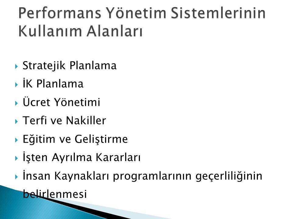 Performans Yönetim Sistemlerinin Kullanım Alanları