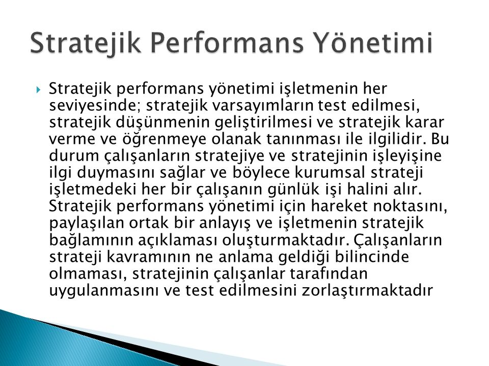 Stratejik Performans Yönetimi