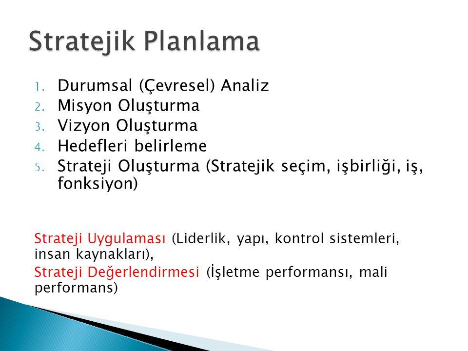 Stratejik Planlama Durumsal (Çevresel) Analiz Misyon Oluşturma