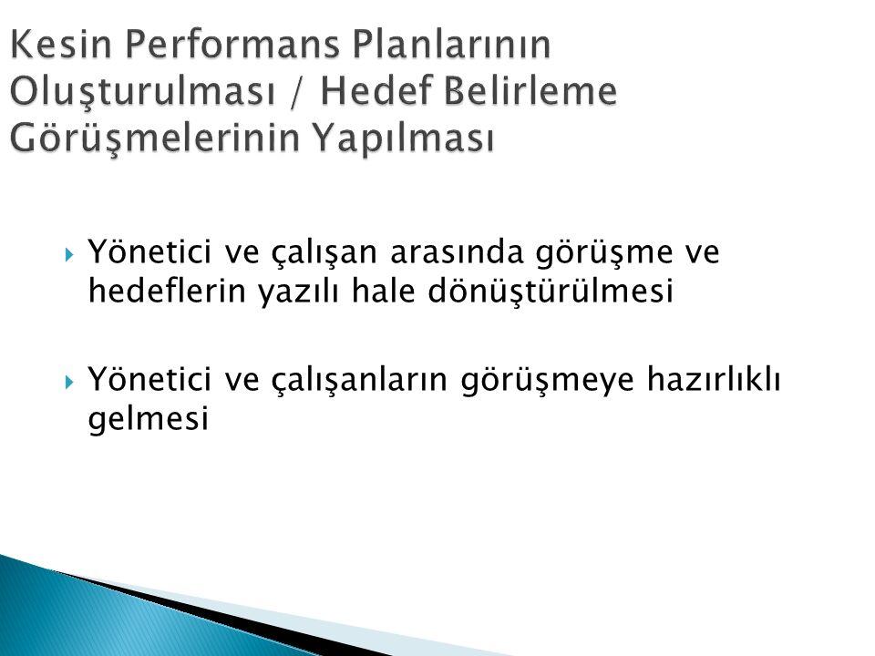 Kesin Performans Planlarının Oluşturulması / Hedef Belirleme Görüşmelerinin Yapılması