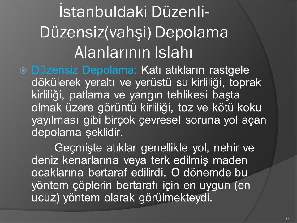İstanbuldaki Düzenli- Düzensiz(vahşi) Depolama Alanlarının Islahı