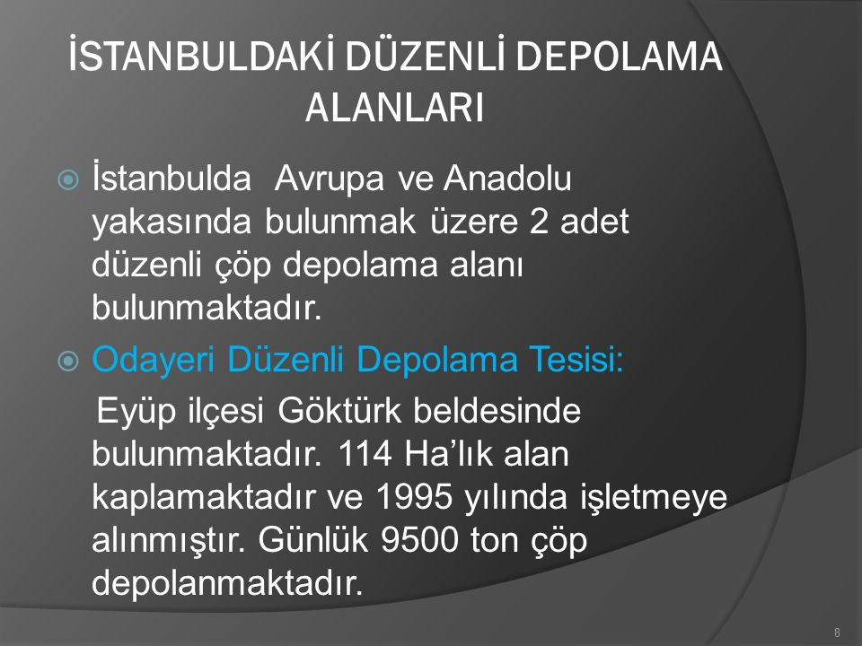 İSTANBULDAKİ DÜZENLİ DEPOLAMA ALANLARI