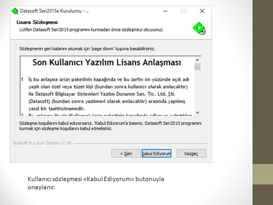 Kullanıcı sözleşmesi «Kabul Ediyorum» butonuyla onaylanır.