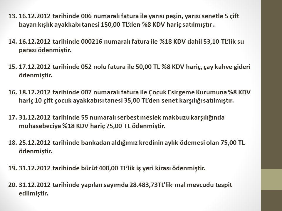 16.12.2012 tarihinde 006 numaralı fatura ile yarısı peşin, yarısı senetle 5 çift bayan kışlık ayakkabı tanesi 150,00 TL'den %8 KDV hariç satılmıştır .