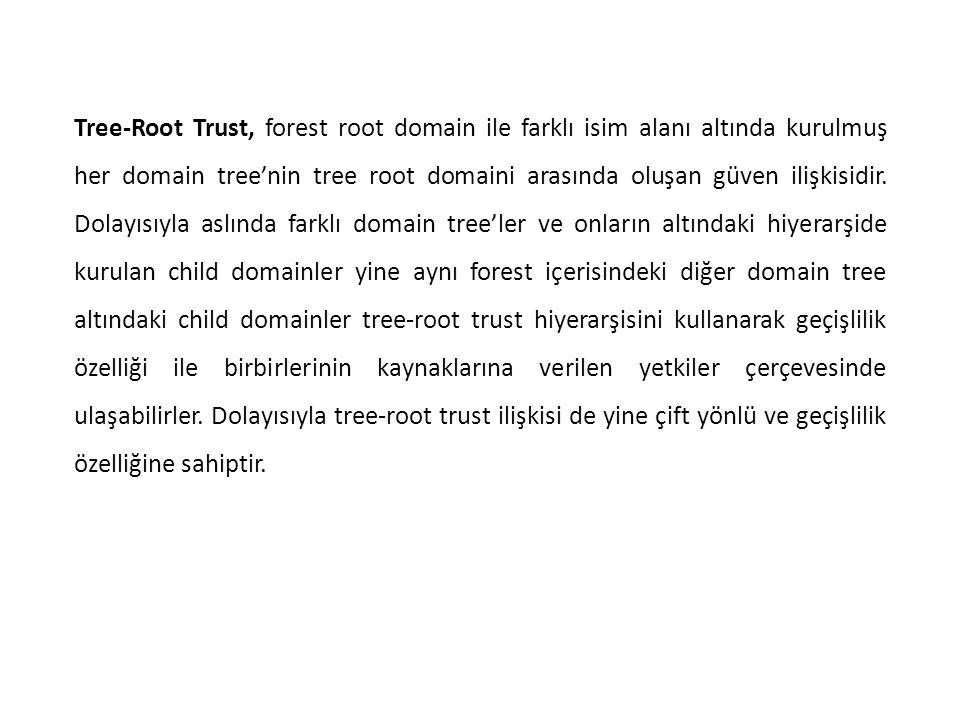 Tree-Root Trust, forest root domain ile farklı isim alanı altında kurulmuş her domain tree'nin tree root domaini arasında oluşan güven ilişkisidir.