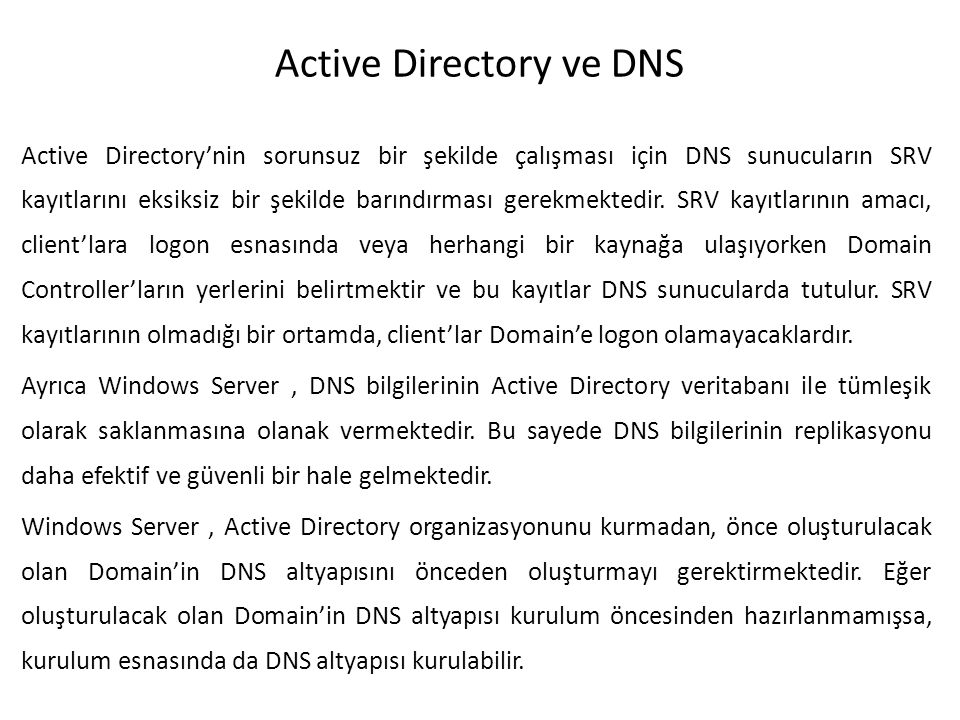 Active Directory ve DNS