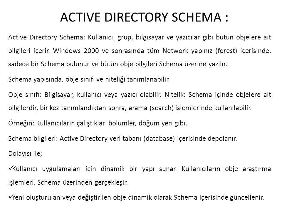 ACTIVE DIRECTORY SCHEMA :