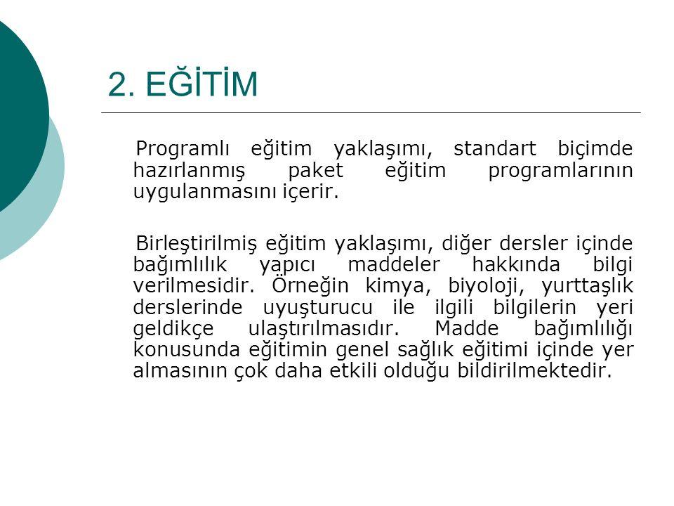 2. EĞİTİM Programlı eğitim yaklaşımı, standart biçimde hazırlanmış paket eğitim programlarının uygulanmasını içerir.