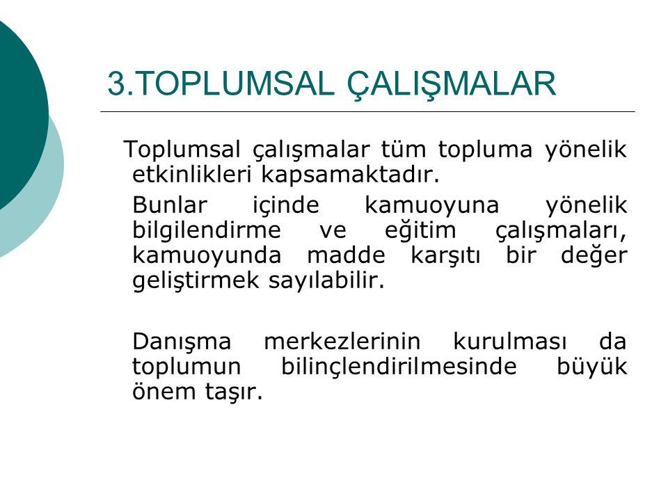 3.TOPLUMSAL ÇALIŞMALAR Toplumsal çalışmalar tüm topluma yönelik etkinlikleri kapsamaktadır.