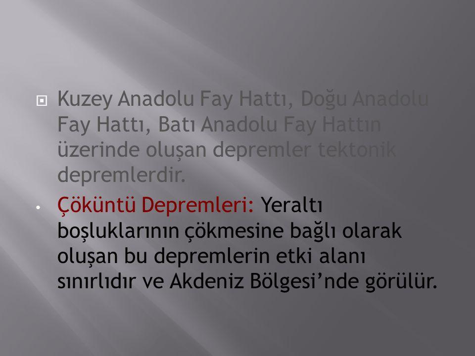 Kuzey Anadolu Fay Hattı, Doğu Anadolu Fay Hattı, Batı Anadolu Fay Hattın üzerinde oluşan depremler tektonik depremlerdir.