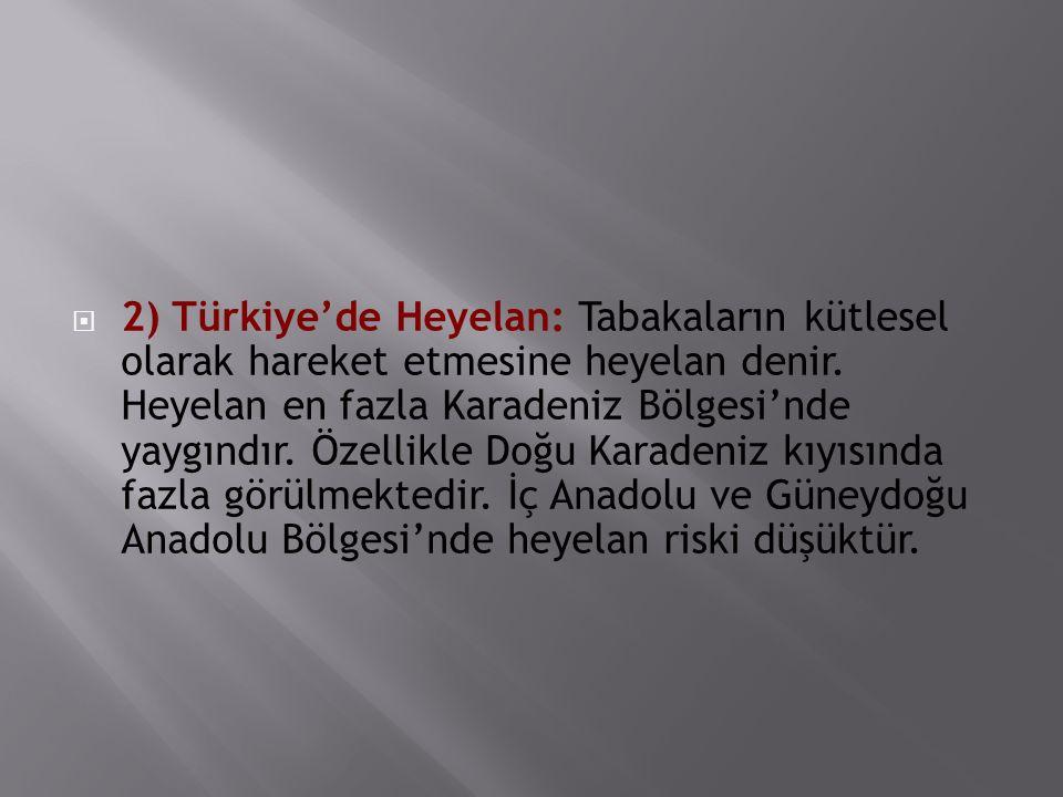 2) Türkiye'de Heyelan: Tabakaların kütlesel olarak hareket etmesine heyelan denir.