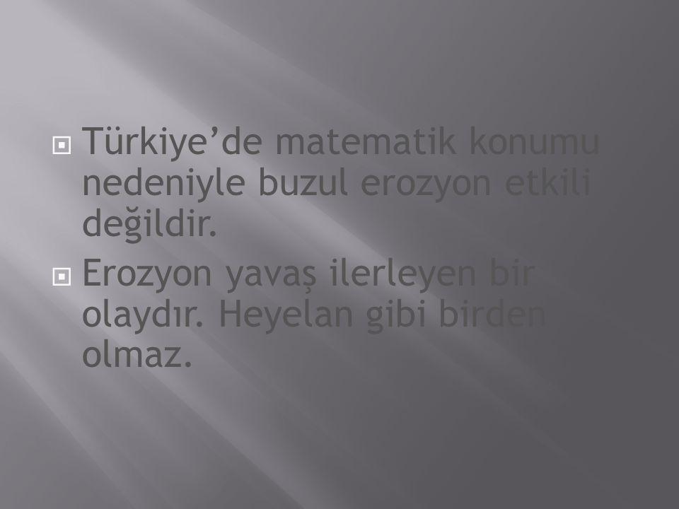 Türkiye'de matematik konumu nedeniyle buzul erozyon etkili değildir.