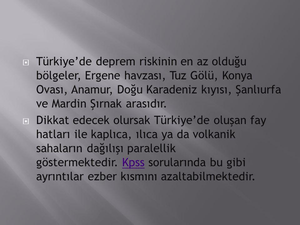 Türkiye'de deprem riskinin en az olduğu bölgeler, Ergene havzası, Tuz Gölü, Konya Ovası, Anamur, Doğu Karadeniz kıyısı, Şanlıurfa ve Mardin Şırnak arasıdır.