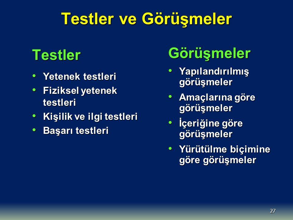 Testler ve Görüşmeler Testler Görüşmeler Yapılandırılmış görüşmeler