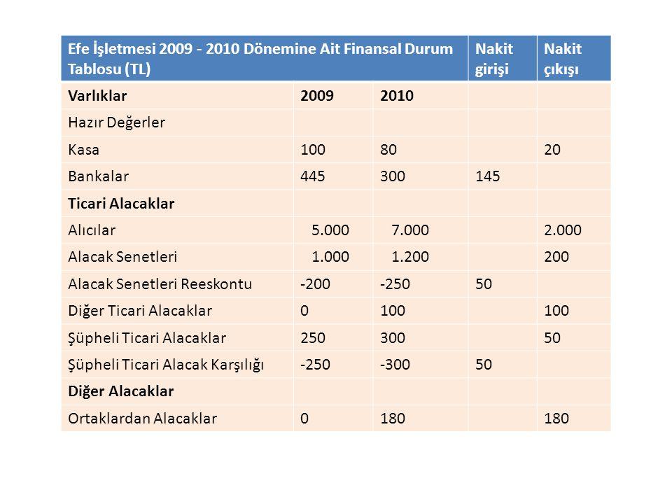 Efe İşletmesi 2009 - 2010 Dönemine Ait Finansal Durum Tablosu (TL)