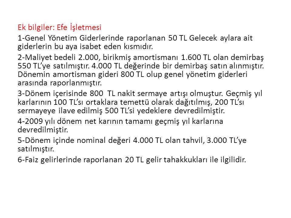 Ek bilgiler: Efe İşletmesi 1-Genel Yönetim Giderlerinde raporlanan 50 TL Gelecek aylara ait giderlerin bu aya isabet eden kısmıdır.