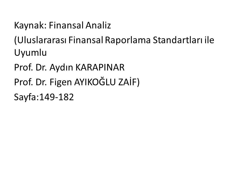 Kaynak: Finansal Analiz (Uluslararası Finansal Raporlama Standartları ile Uyumlu Prof.