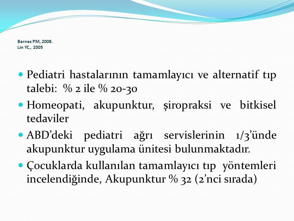 Barnes PM, 2008. Lin YC,. 2005 Pediatri hastalarının tamamlayıcı ve alternatif tıp talebi: % 2 ile % 20-30.