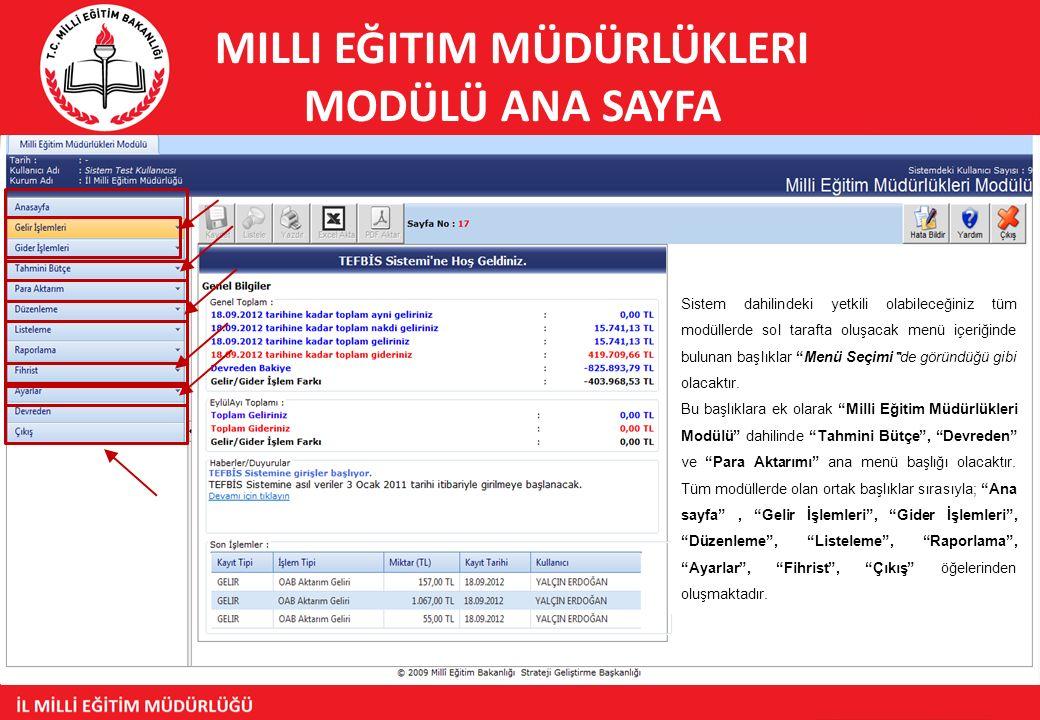 Milli Eğitim Müdürlükleri Modülü Ana Sayfa