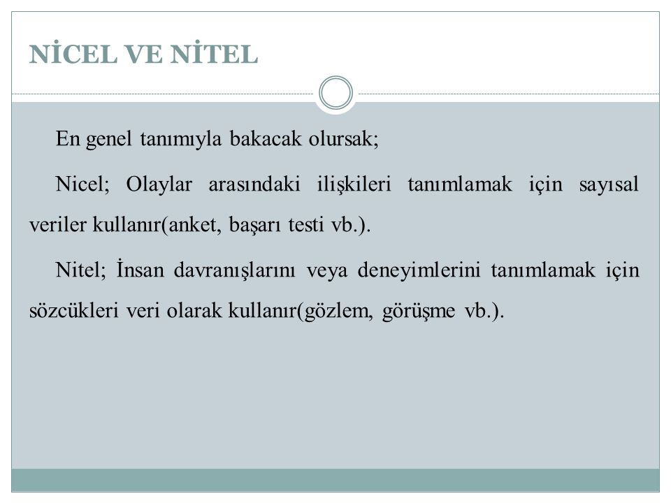 NİCEL VE NİTEL