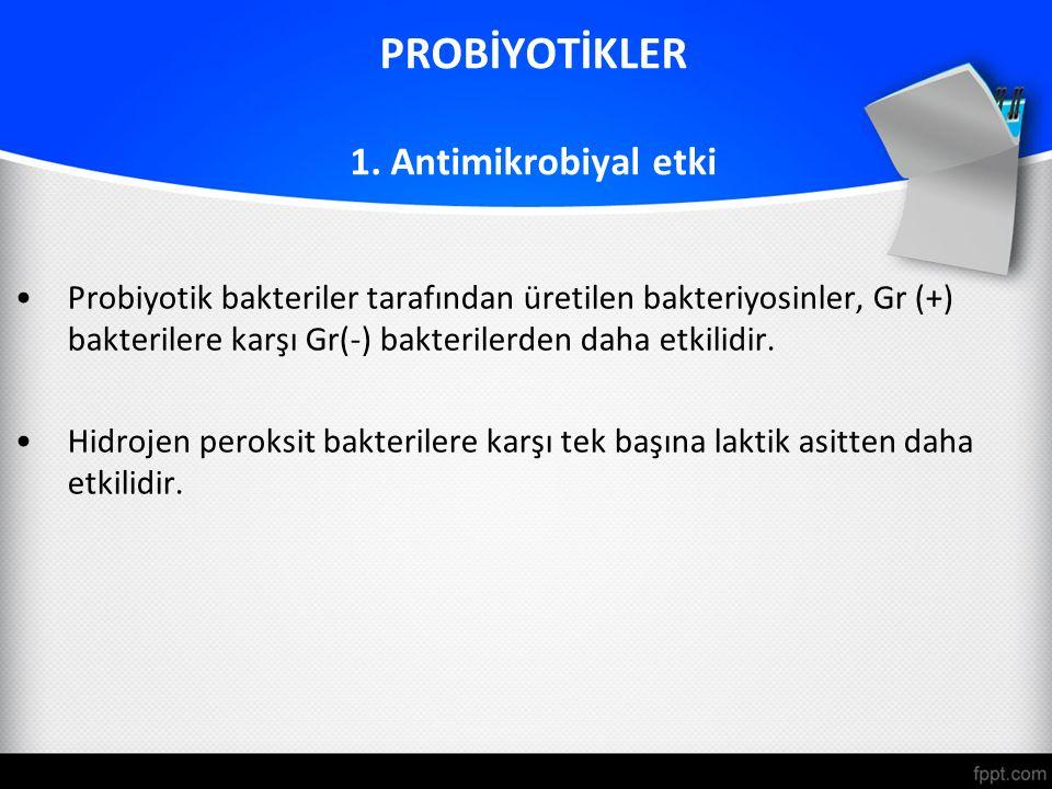 PROBİYOTİKLER 1. Antimikrobiyal etki