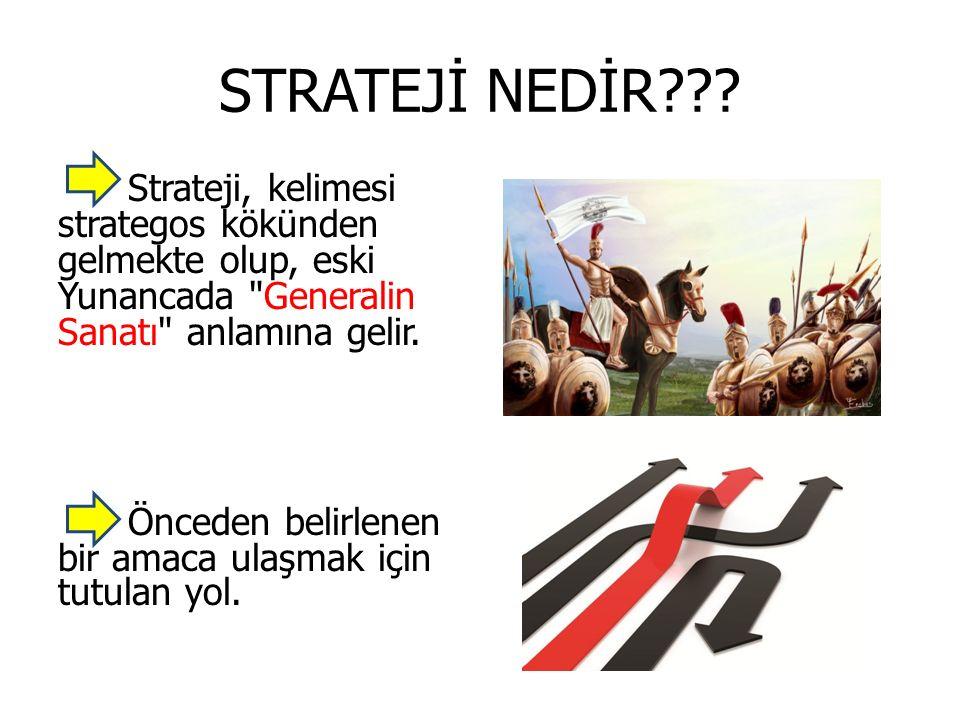 STRATEJİ NEDİR Strateji, kelimesi strategos kökünden gelmekte olup, eski Yunancada Generalin Sanatı anlamına gelir.