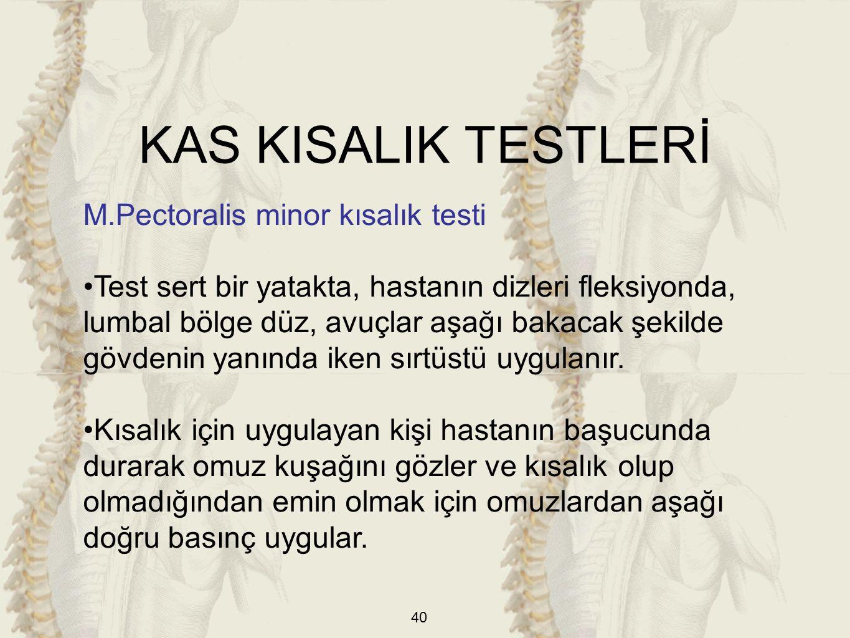 KAS KISALIK TESTLERİ M.Pectoralis minor kısalık testi