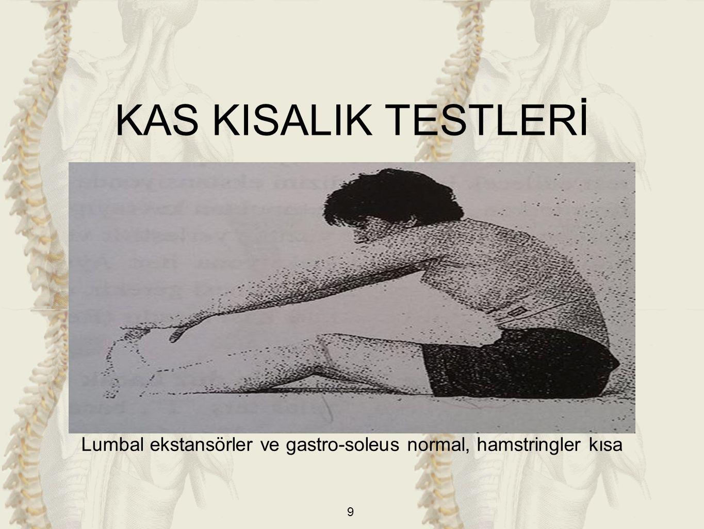 Lumbal ekstansörler ve gastro-soleus normal, hamstringler kısa