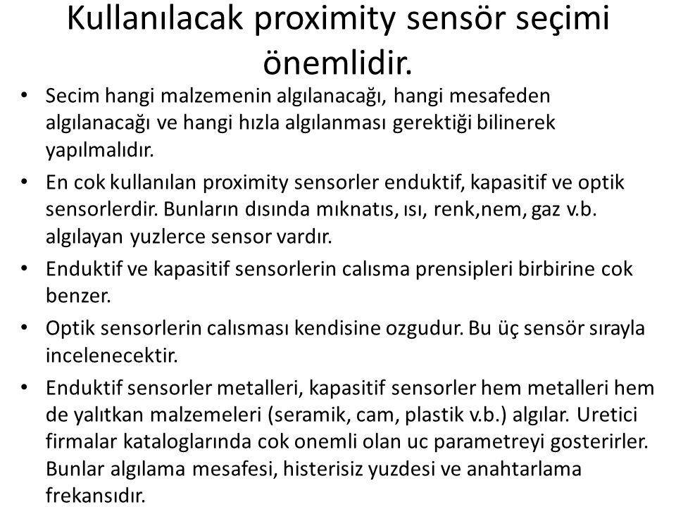 Kullanılacak proximity sensör seçimi önemlidir.