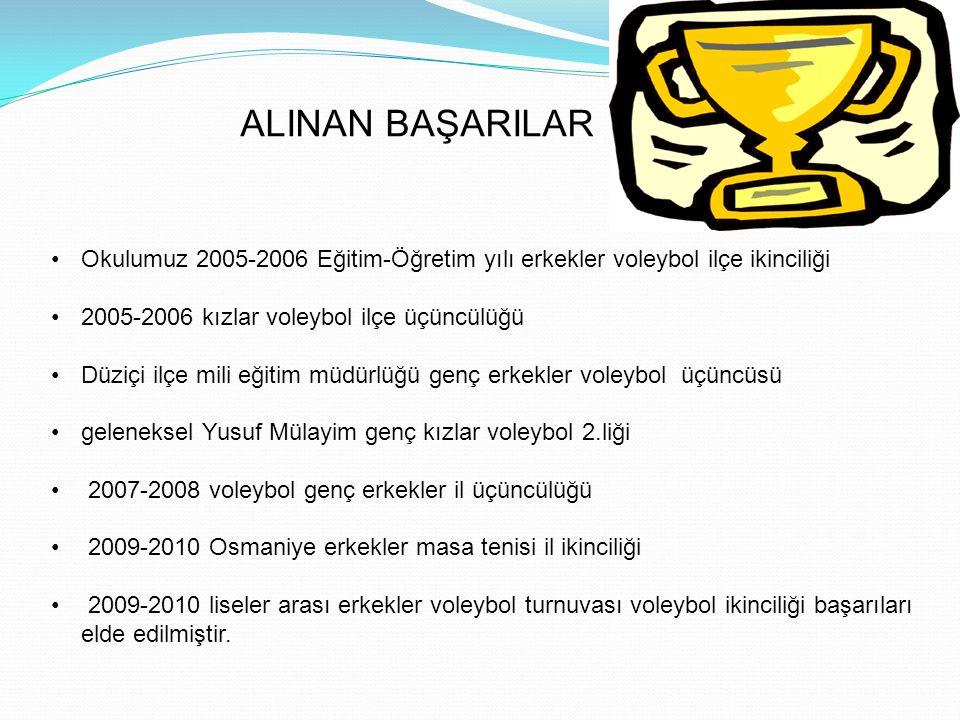 ALINAN BAŞARILAR Okulumuz 2005-2006 Eğitim-Öğretim yılı erkekler voleybol ilçe ikinciliği. 2005-2006 kızlar voleybol ilçe üçüncülüğü.