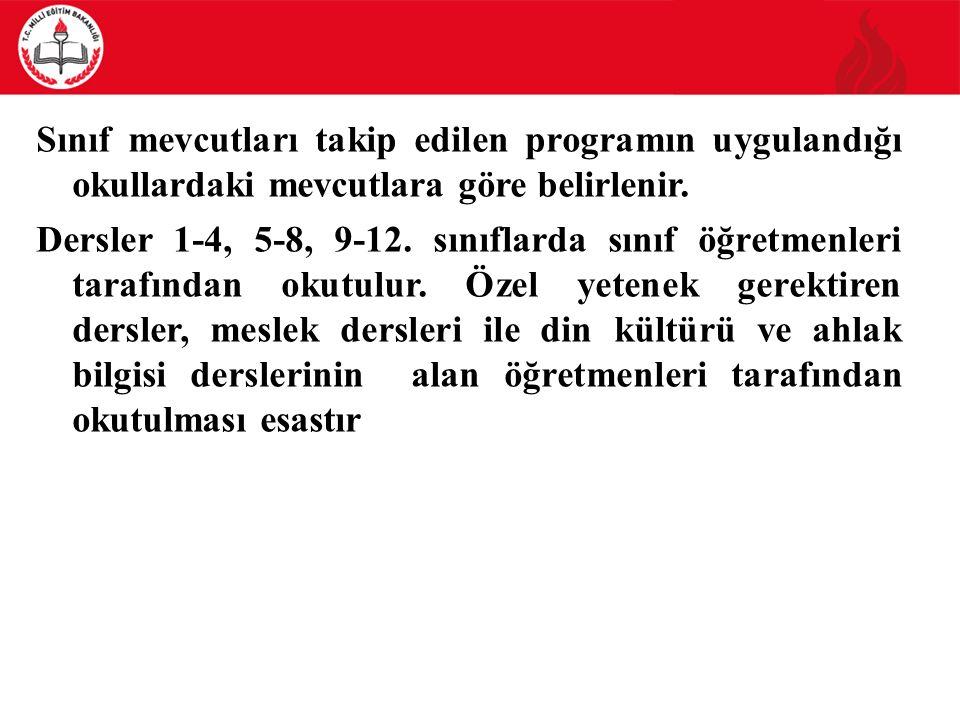 Sınıf mevcutları takip edilen programın uygulandığı okullardaki mevcutlara göre belirlenir.