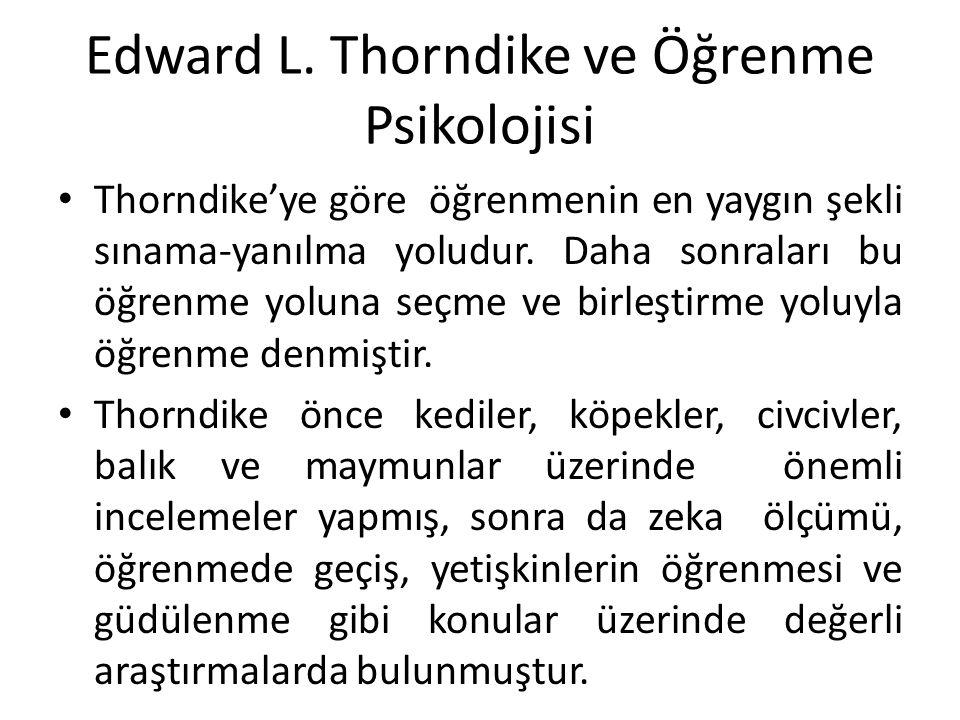 Edward L. Thorndike ve Öğrenme Psikolojisi