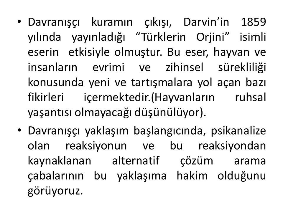Davranışçı kuramın çıkışı, Darvin'in 1859 yılında yayınladığı Türklerin Orjini isimli eserin etkisiyle olmuştur. Bu eser, hayvan ve insanların evrimi ve zihinsel sürekliliği konusunda yeni ve tartışmalara yol açan bazı fikirleri içermektedir.(Hayvanların ruhsal yaşantısı olmayacağı düşünülüyor).