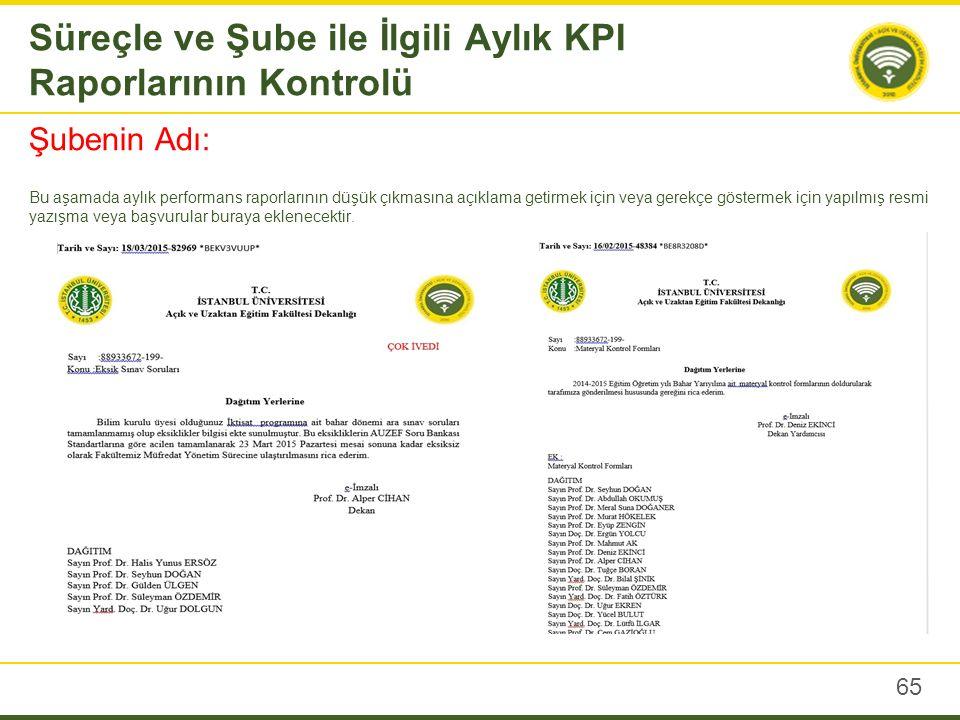 Süreçle ve Şube ile İlgili Aylık KPI Raporlarının Kontrolü