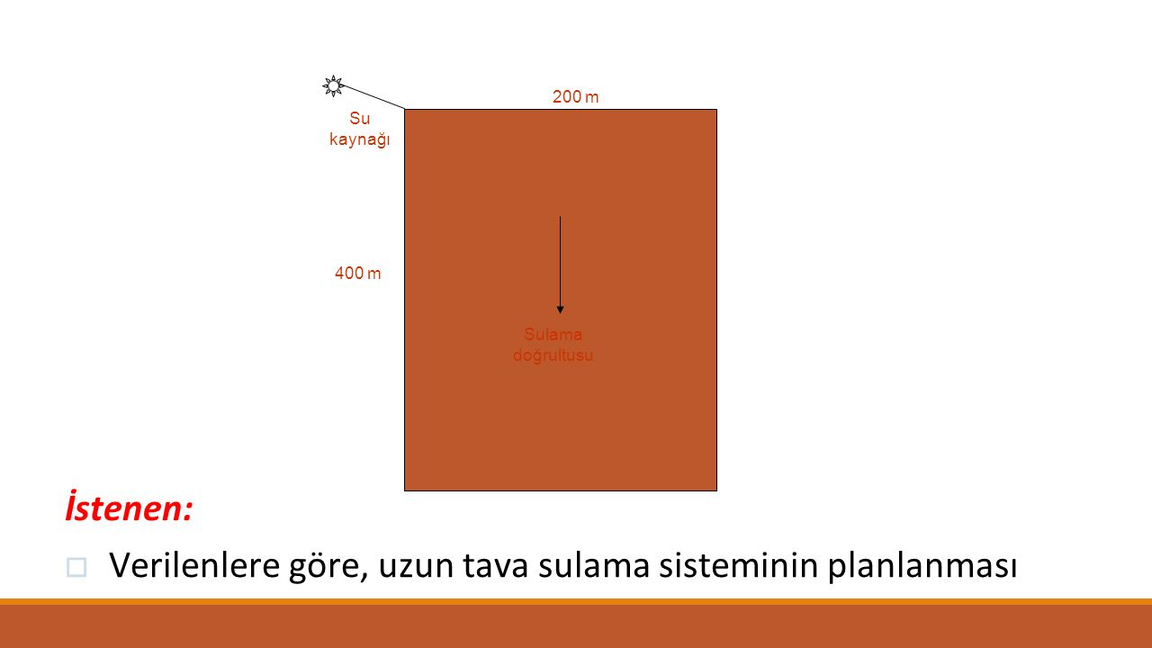 Verilenlere göre, uzun tava sulama sisteminin planlanması