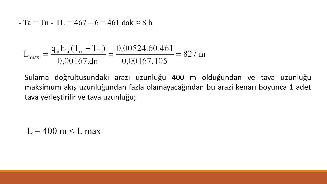 L = 400 m < L max - Ta = Tn - TL = 467 – 6 = 461 dak ≈ 8 h