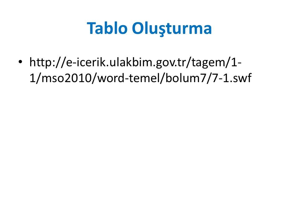 Tablo Oluşturma http://e-icerik.ulakbim.gov.tr/tagem/1-1/mso2010/word-temel/bolum7/7-1.swf