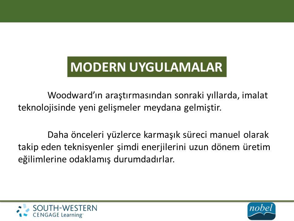 MODERN UYGULAMALAR Woodward'ın araştırmasından sonraki yıllarda, imalat teknolojisinde yeni gelişmeler meydana gelmiştir.