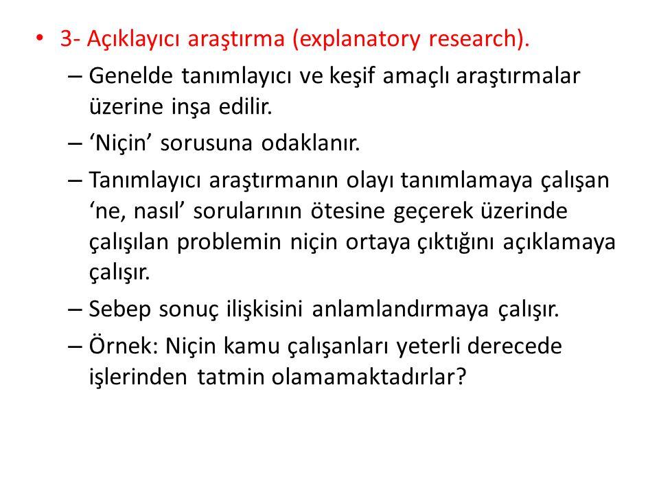3- Açıklayıcı araştırma (explanatory research).
